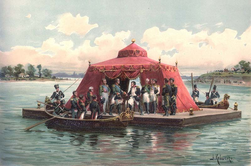 Александр Первый заключил с Наполеоном Тильзитский мирный договор