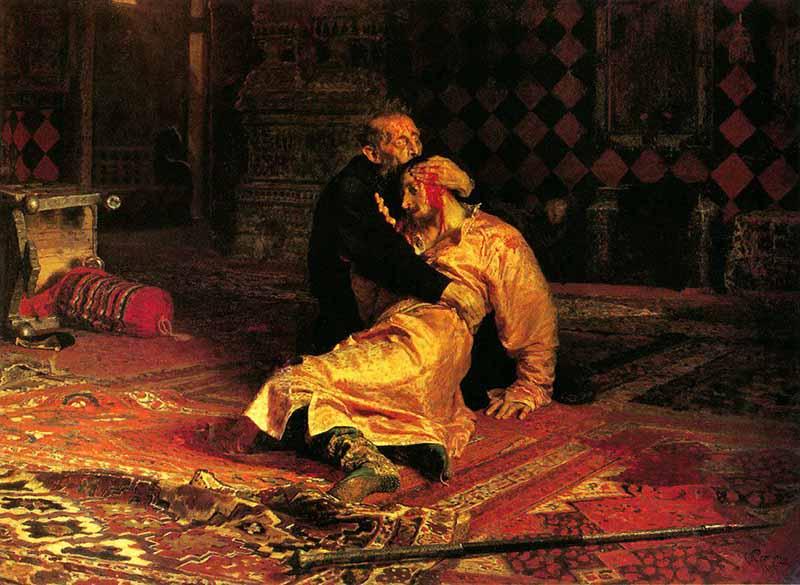 на картину Репина, на которой изображены Иван Грозный и его сын Иван с кровью на голове.