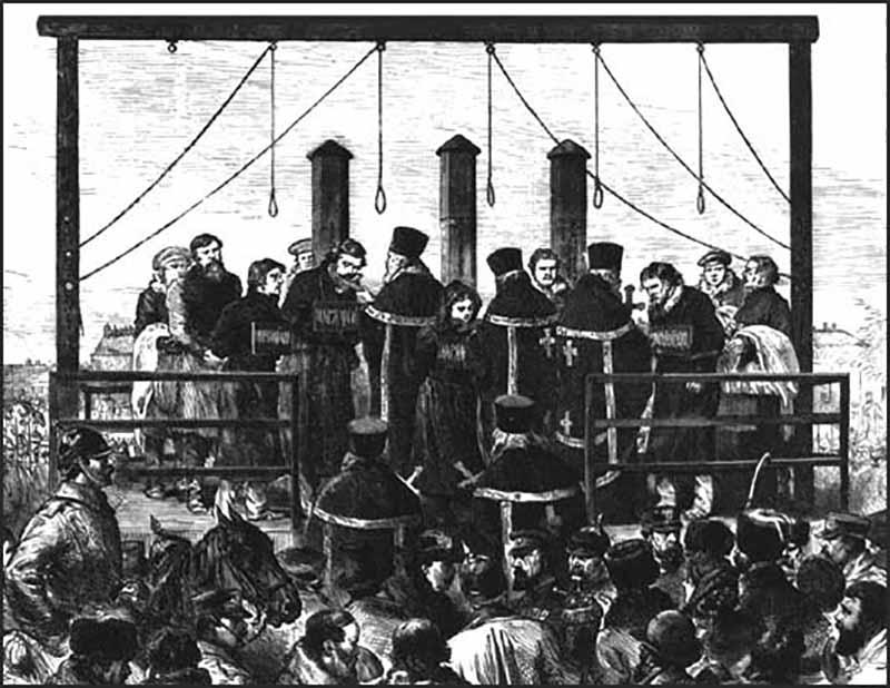 Смертную казнь отменили сразу после того, как победила Октябрьская революция, но потом ее снова ввели