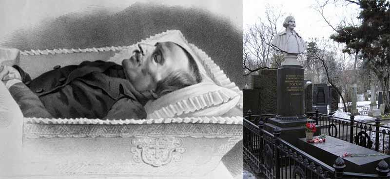 Гоголевские останки перезахоронили на Новодевичьем кладбище.