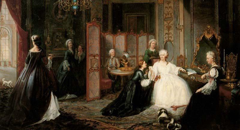 Когда императрица находилась в вояже в Крыму весной 1787 года, ее встречала недавно созданная рота девушек.